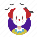 clown, fear, halloween, scream, terror icon