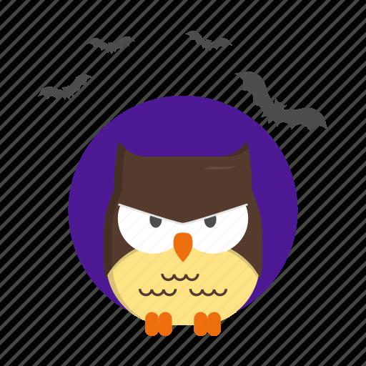 bird, fear, halloween, night, owl icon