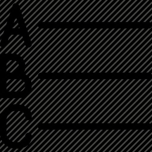 alphabet, file, format, list, text icon