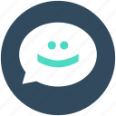 chat balloon, chat emoticon, chat smiley, emoji, speech balloon icon