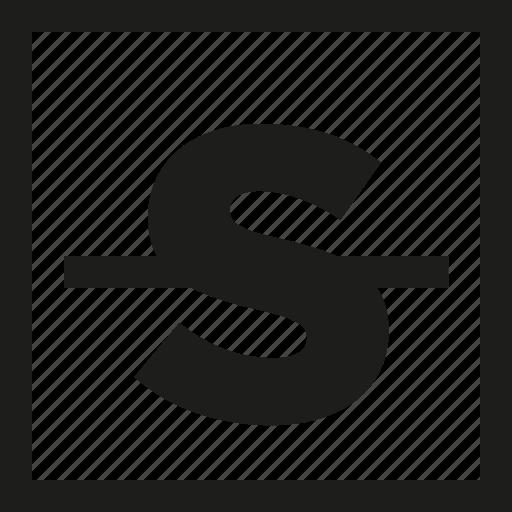 letter, strike, through icon