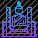 buddha, building, city, landmark, old, thailand icon