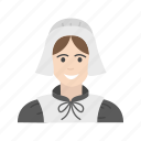 american pilgrim, girl pilgrim, pilgrim, thanksgiving icon