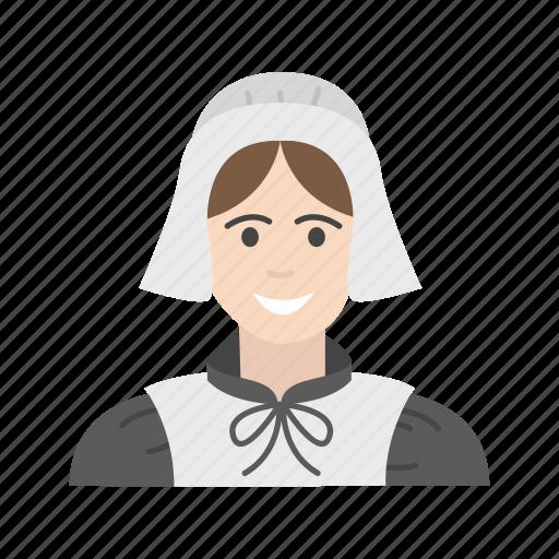american pilgrim, girl pilgrim, pilgrim, thanksgiving icon