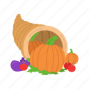 cornucopia, fruits, holiday basket, thanksgiving icon