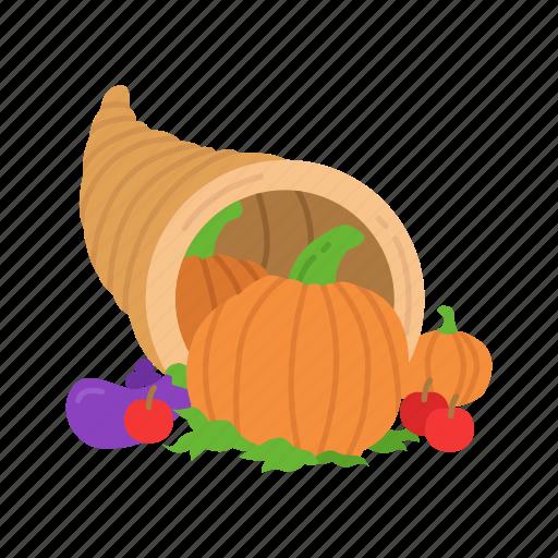 cornucopia, fruits, holiday basket, thanksgiving icon