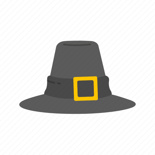 Hat, hat with buckle, pilgrim hat, thanksgiving icon