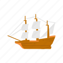boat, mayflower, pilgrims, thanksgiving, wooden ship icon