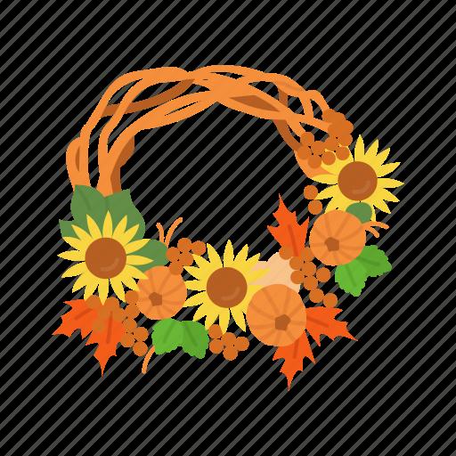 fall wreath, festive wreath, thanksgiving, wreath icon