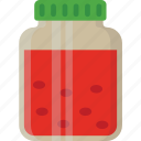 bread jam, jam bottle, jam jar, jelly spread, strawberry jam