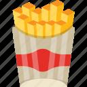 french fries, fries, potato fries, potato sticks, snack box icon