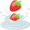 dip cream, fruit, natural dessert, strawberry cream dipping, strawberry dipping icon
