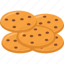 baked cookies, biscuits, chocolate chip cookies, cookies, snacks icon