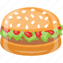 burger, junk food, patty burger, sandwich, snack icon