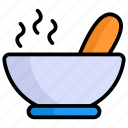hot soup, soup, bowl, meal, food bowl, spoon, cooking