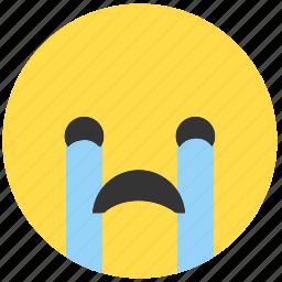 cry, emoji, emoticon, emotions, expression, face, sad icon