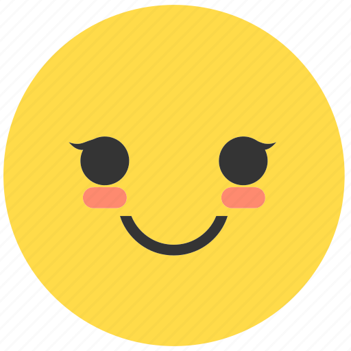 blush, emoji, emoticon, emotions, expression, face, smile icon