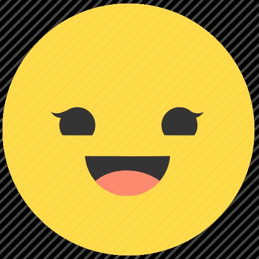 emoji, emoticon, emotions, face, girl, happy, smile icon