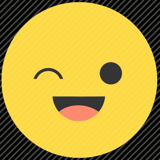 emoji, emoticon, emotions, expression, face, smile, wink icon