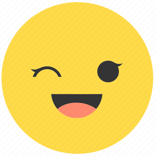 emoji, emoticon, emotions, face, girl, smile, wink icon