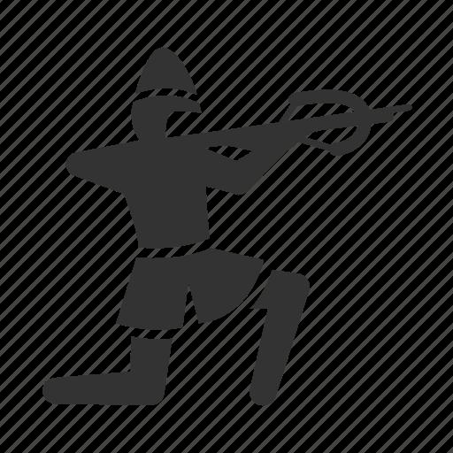 archer, archery, crossbow, infantry, man, medieval, war icon
