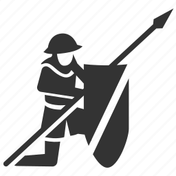 army, infantry, medieval, shield, soldier, spearman, vanguard icon