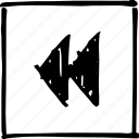arrows, back, backward, handmade, player, scribbler, video icon