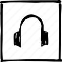 audio, auditory, headphones, headset, music, scribbler, tune icon