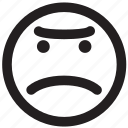 angry, bad, disappointed, emoticon, fight, outlines icon