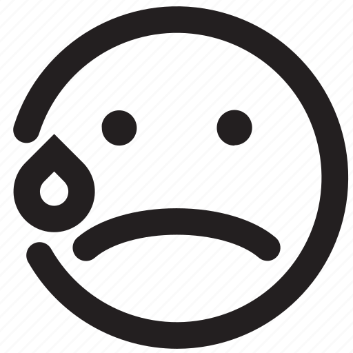 bad, cry, crying, emoticon, outlines, sad, unhappy icon