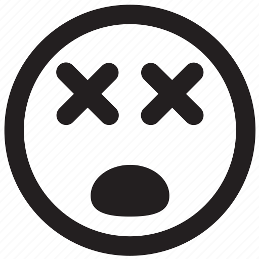 dead, death, emoticon, outlines icon
