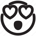 adore, crush, emoticon, like, love, outlines, passion icon