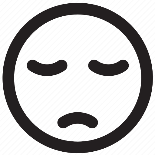 bored, boring, emoticon, outlines, sad, tired icon