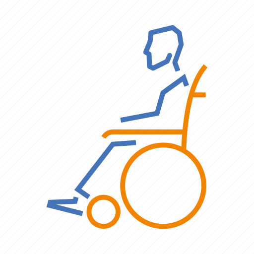 disabled, duocolor, health, old, person, wheelchair icon