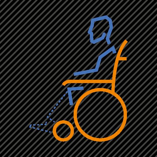 design, disability, leg, no, physical, wheelchair icon