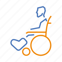 broken, disabled, leg, temporary, wheelchair icon