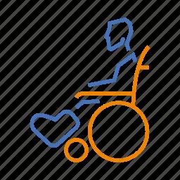 broken, disabled, leg, temporary, wheelchair icon