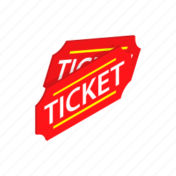 admission, cinema, entry, isometric, red, theater, ticket icon