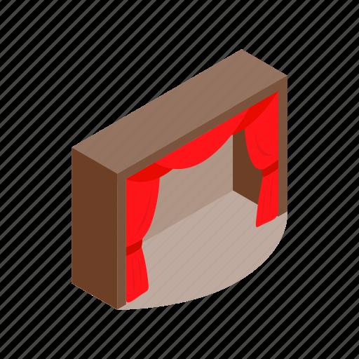 isometric, opera, performance, red, scene, show, theater icon
