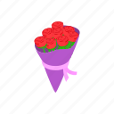 beautiful, bouquet, flower, gift, isometric, rose, valentine icon