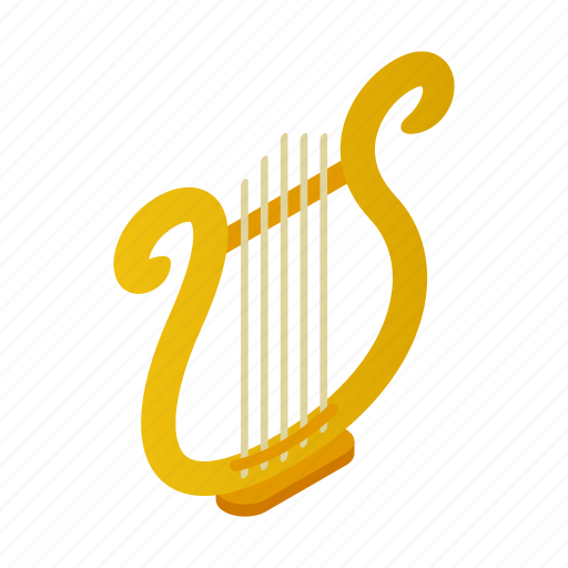 harp, instrument, isometric, lyre, music, musical, string icon