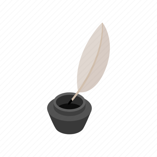 antique, ink, inkwell, isometric, old, pen, quill icon