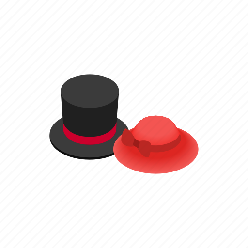 fashion, hat, isometric, performance, red, retro, theater icon