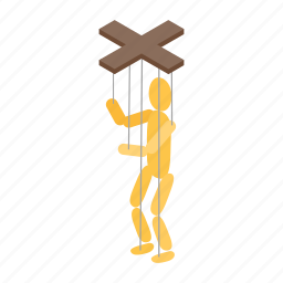 doll, isometric, marionette, puppet, string, toy, wooden icon