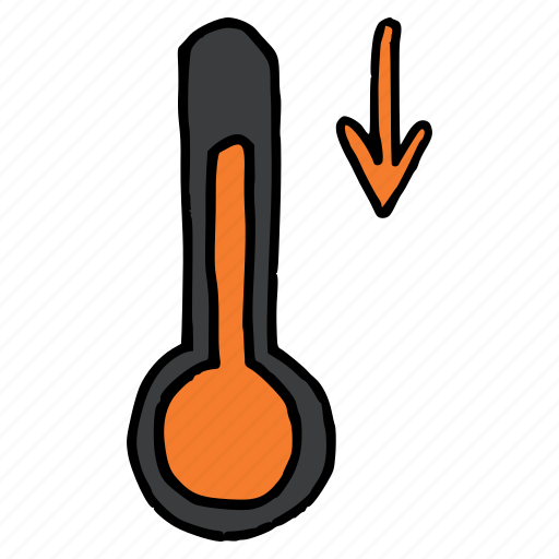 decrease, fall, forecast, measurement, temperature, thermometer, weather icon