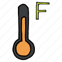 fahrenheit, forecast, hot, measure, temperature, thermometer, weather icon