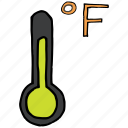 degree, fahrenheit, forecast, measure, temperature, thermometer, weather icon
