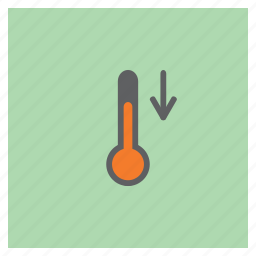 arrow, decrease, forecast, reduce, temperature, thermometer, weather icon