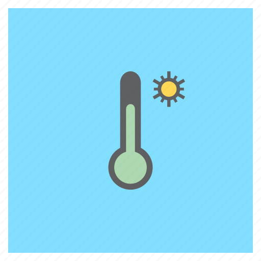 forecast, sun, sunny, temperature, thermometer, weather icon