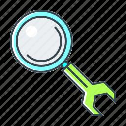 configuration, magnifying, optimization, search, seo, settings, web icon
